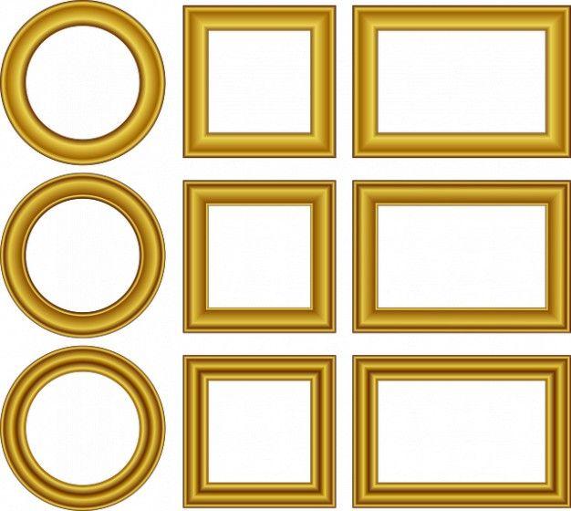 Мультфильм свадьбы границы дизайн набора кадров золотой Бесплатные Фотографии