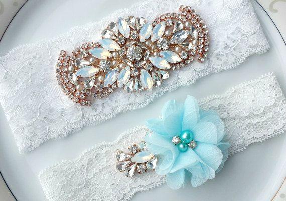 Rhinestone Garter White Blue Opal Pearl by TheTossedBouquet