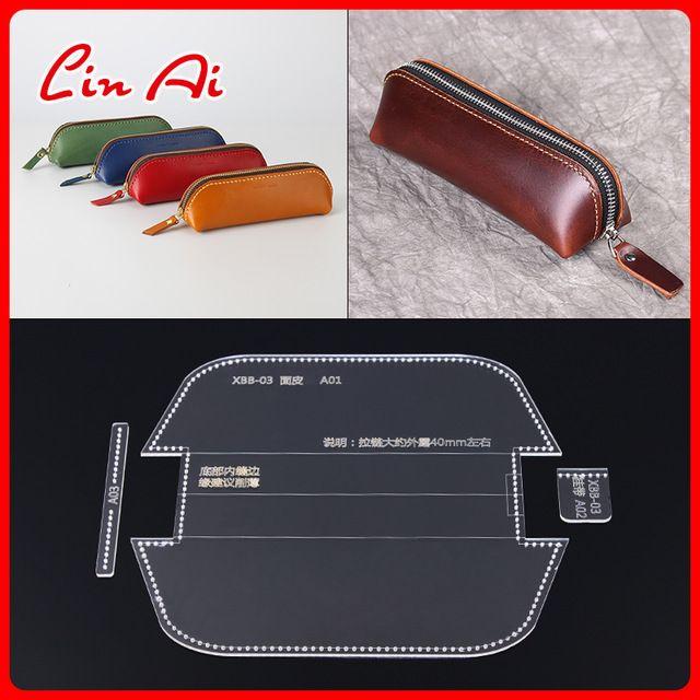 3pcs cuir Craft Acrylique Zipper Crayon Sac Case Modèles Gabarit