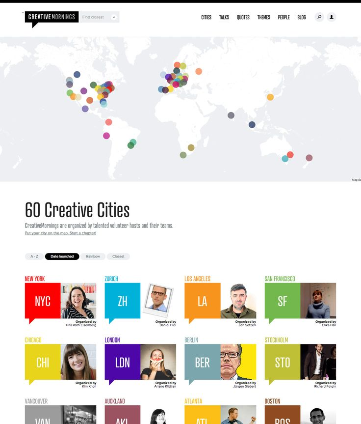 Creative Mornings map-based directory grid with filters