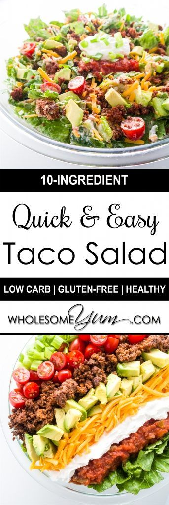 Easy Taco Salad (Low Carb, Gluten-free) - This easy low carb salad is like a beef taco in a bowl. Just 10 ingredients and ready in 20 minutes!   Wholesome Yum - Natural, gluten-free, low carb recipes. 10 ingredients or less.