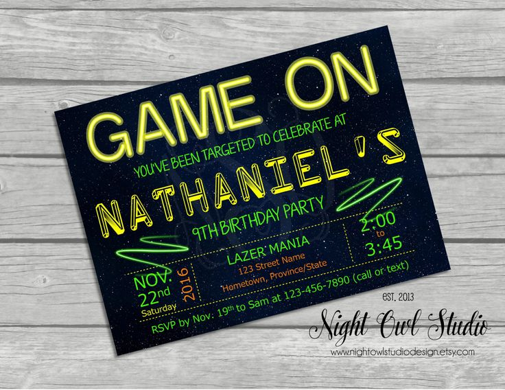Laser Tag Invitation-Laser Tag Birthday-Laser Tag Party-Boy Birthday-Teen Birthday-Printable Invite by NightOwlStudioDesign on Etsy