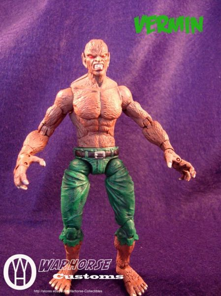 this is a marvel legends Vermin Custom Action Figure he was made by figure realmer xysma warhorse he used a werewolf by night body, and I think a green goblin or hob goblin head happy pinning