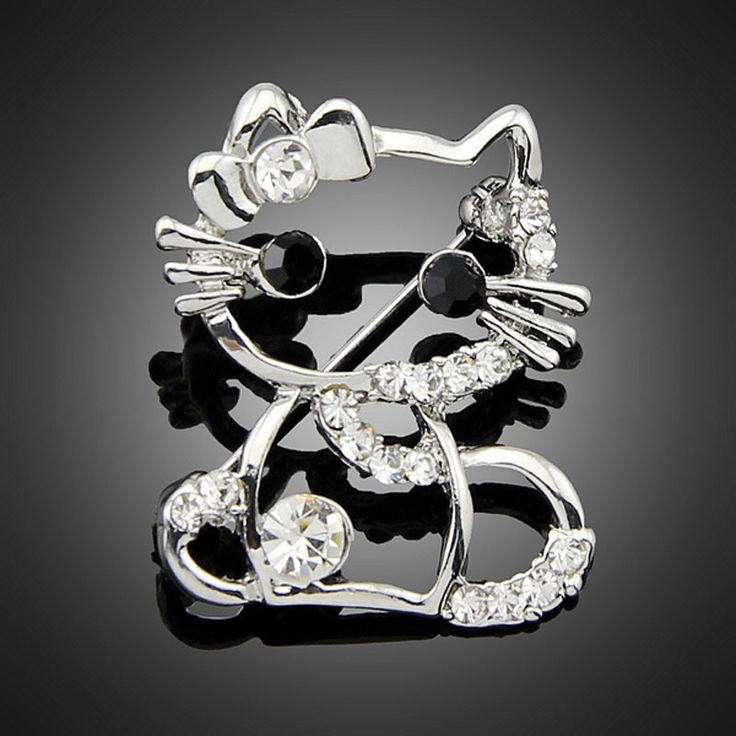 Cute Hollow Hello Kitty Rhinestone Cat Brooches for Women Brooch Pins Jewelry Wedding Gift