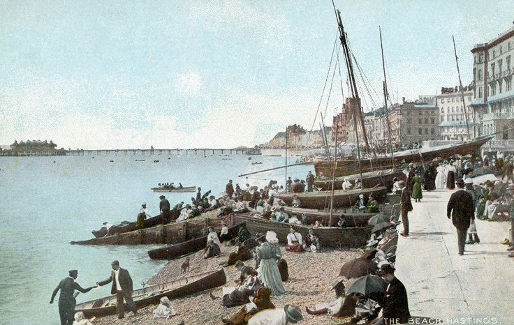 Hastings Seafront with boats on the Beach c1900 (Digital Image)