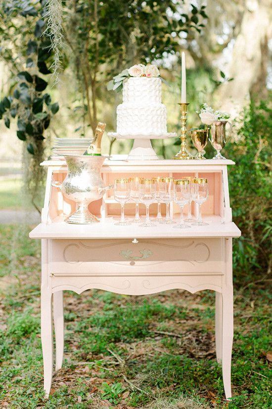 peach and gold wedding dessert table - Deer Pearl Flowers / http://www.deerpearlflowers.com/wedding-cakes-desserts/peach-and-gold-wedding-dessert-table/