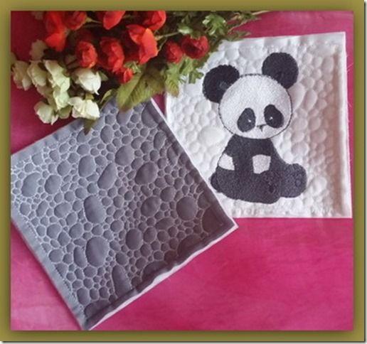 Exclusive Stitches: ES013-Pebbly Panda Bear Quilt As You Go Quilt Bloc...