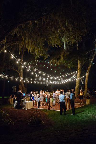 string light dance floor at RiverOaks in Charleston | Clay Austin #wedding