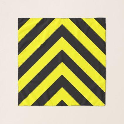 Black & Yellow Chevron-Like Pattern Scarf