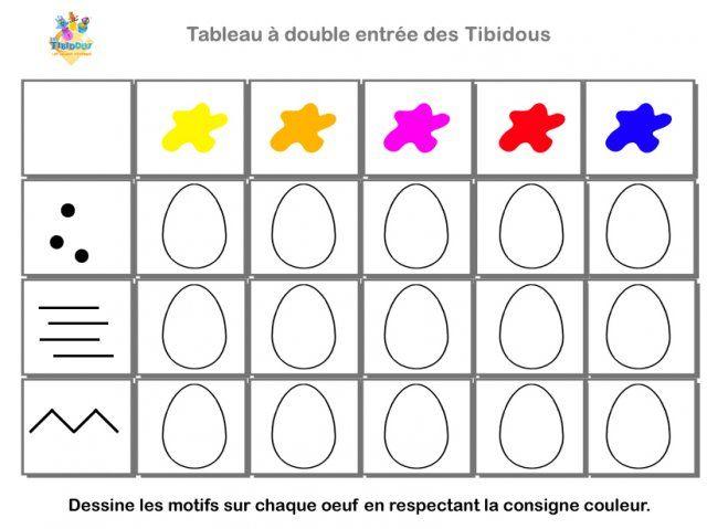Les Tibidous Site Pour Enfants Exercices A Imprimer Sur Le Tri Dans Un Tableau Nive Tableau Double Entree Tableau A Double Entree Atelier Paques Maternelle