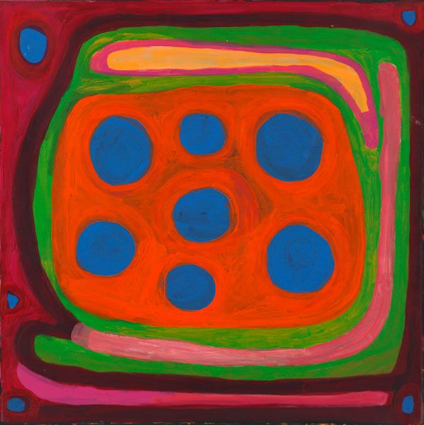Now showing until 4 October 2014. Everything about the work of Dolly Snell is filled with joy. A vivacious palette that captures and holds your attention, D...... Oeuvre de Dolly Snell exposée avec d'autres à l'Outstation Gallery Darwin Australie