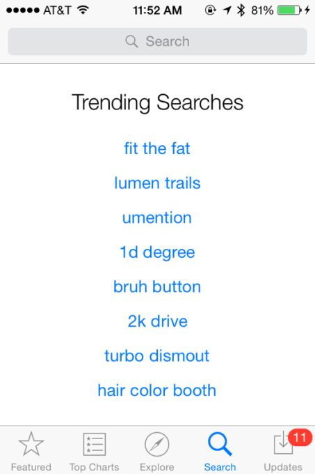 """iOS App Store's """"Trending Searches"""" Section Shows Evidence Of Gaming   TechCrunch"""