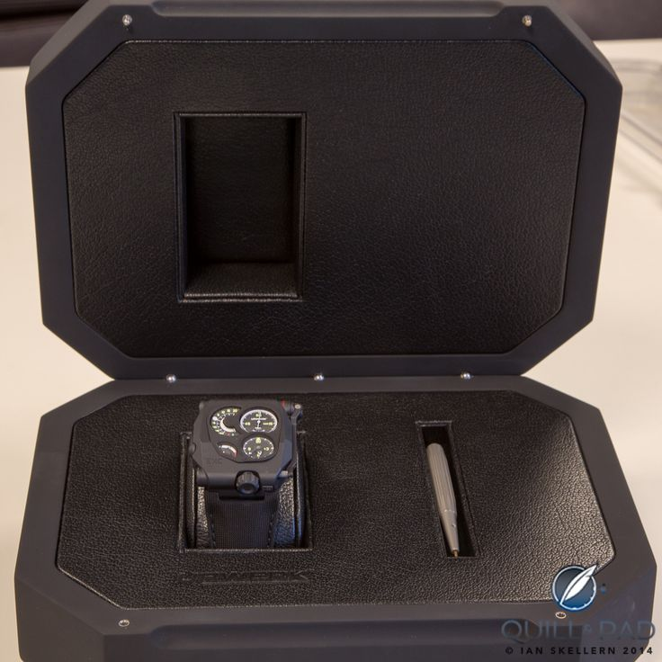The Urwerk EMC Black comes in a suitably stylish box, housing the watch and special screwdriver for adjusting the movements precision/rate