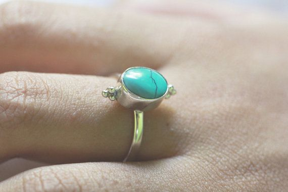 ✤ Simplicity Ring in Turquoise ✤ This pretty little turquoise ring is unique in design as we granulated silver balls and welded them at the top and bottom of the casing. Its Solid 925 Sterling Silver means that it will keep its shine and shape. Wear it as a small statement ring or a