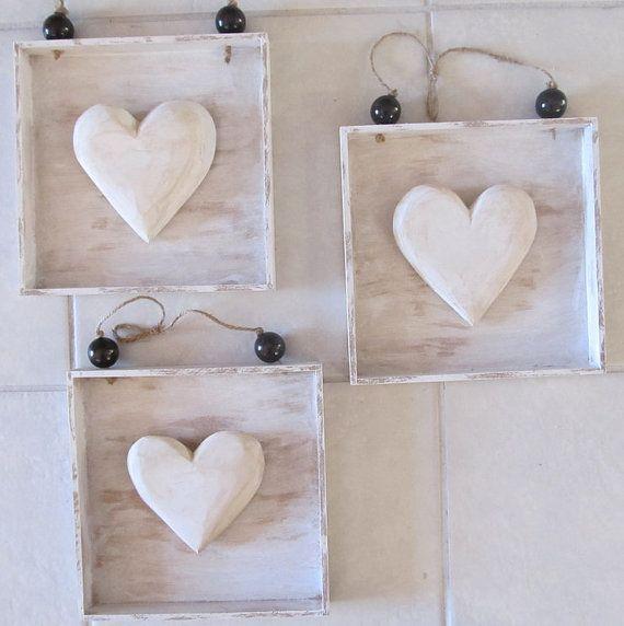 Wooden Square Heart Decor