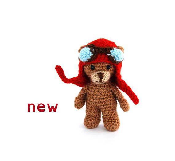 $33.68 funny bear with #aviatorhat, mini teddy bear, #travelingfriend, funny amigurumi bear, small #crochettoy, bear pocket doll, crochet teddy