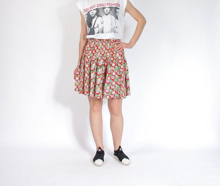 80s Kosinski High Waisted Floral Summer Frill Skirt / Size M/L