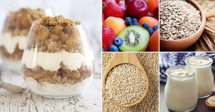 Parfait de quinoa, yogurt, avena y frutas