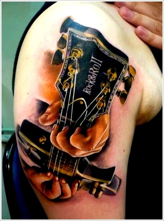 24 Great Guitar Tattoo Designs: 3d Guitar Tattoo Designs For Men On Sleeve ~ Tattoo Design Inspiration