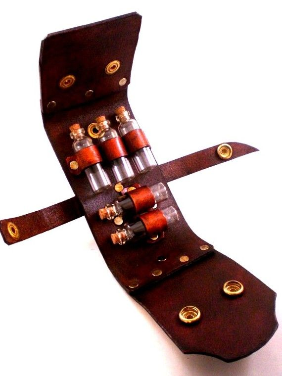 Steampunk Vial Holster  Holds up to 5 Vials of your by SkinzNhydez