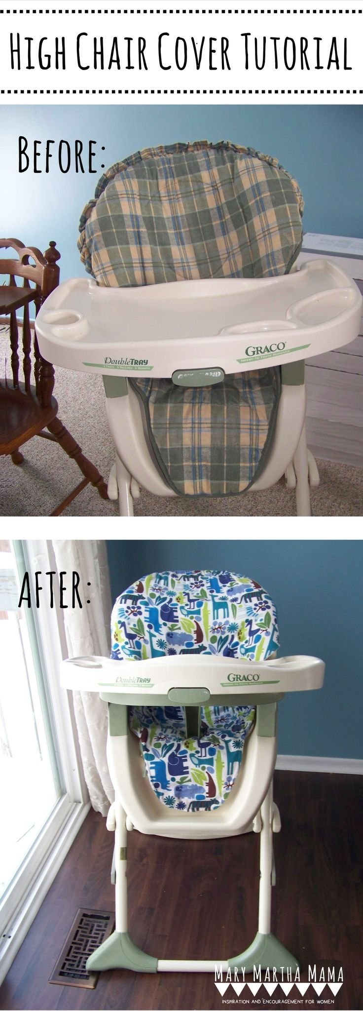 DIY High Chair Cover Tutorial- I bought an old high chair at a yard sale and made a new cover for it- This step by step tutorial with pictures shows how I did it.