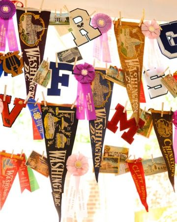 """Just thought of an awesome HS graduation party idea!! If you haven't already told people which college you have chosen, hang up a bunch of items that represent possibilities. As the grad party goes on, every so often, take down an item from a school that's a """"no-go"""". By the end of the party, your college choice will be left! It's like a college reveal party!"""