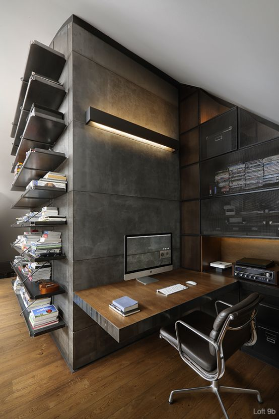 cement-rendered feature wall with in-built desk