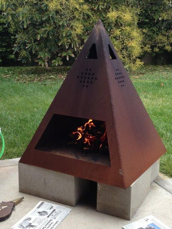 Nice.  I have the scraps stainless steel to pull this one off and perhaps some copper for the outer skin and Patina  | Outdoor steel chiminea - great for summer entertainment