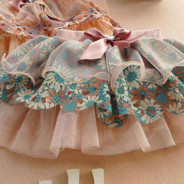 Cute Kid Girl Ribbon Bowknot Flower Tutu Skirt Princess Layer Floral Tulle Skirt