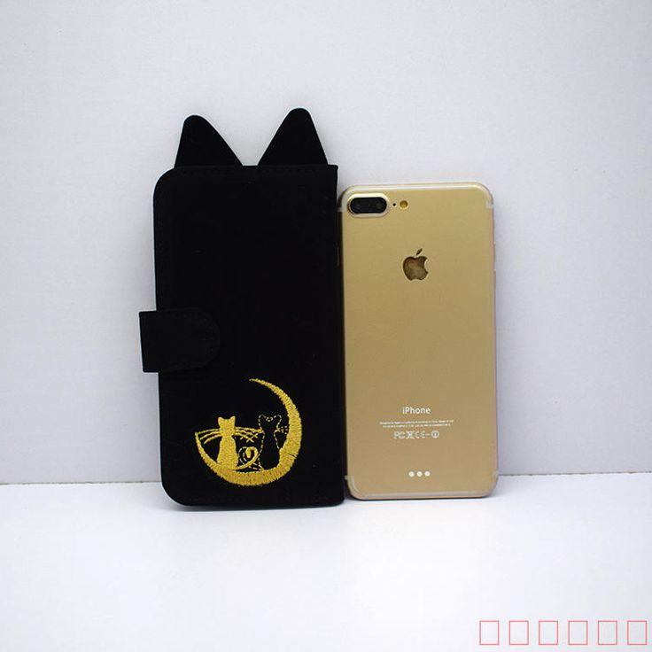 2017 2018最新美少女戦士セーラームーンねこ黒猫ルナ携帯ケース手帳型収納バッグ 白猫アルテミス猫ミミ耳iphone8/7s/7 iPhone6SPlus