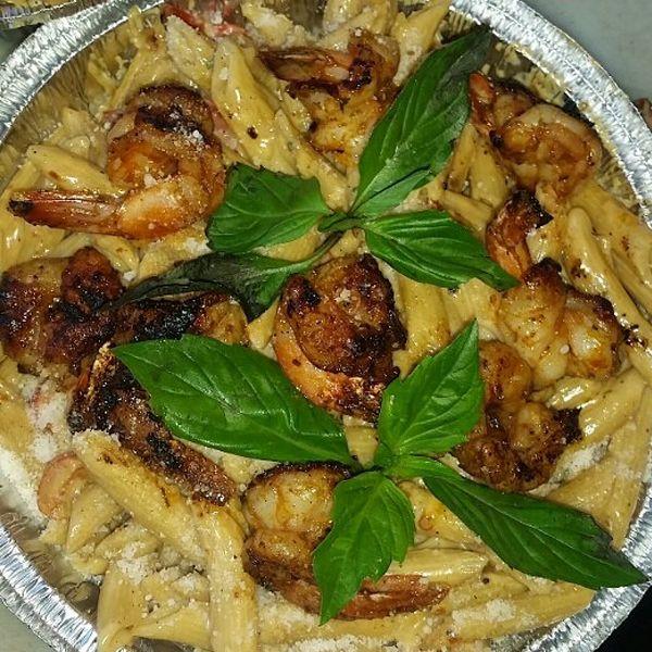 Jerk Shrimp Rasta Pasta halsey street grill    #rastapasta