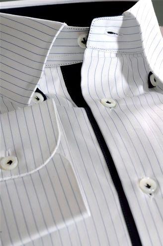 Tailor Made Shirt, Poplin fabric, striped blue white, name Lomas - $169