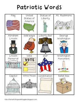 Writing Center Tools- Patriotic/National Symbol Words