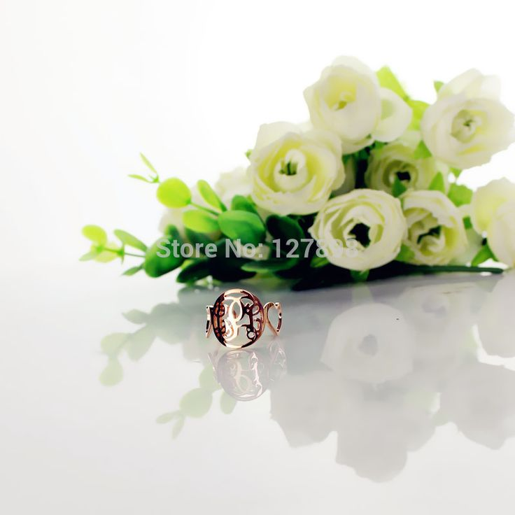 Круг Монограмма Кольцо Роуз Позолоченные Индивидуальные Cut 3 Монограммой Инициалы В Круг С Сердцем Стиль Кольца