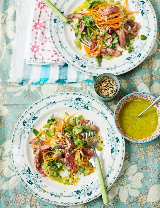 Hemsley and Hemsley seared beef salad with carrot noodles and tahini dressing