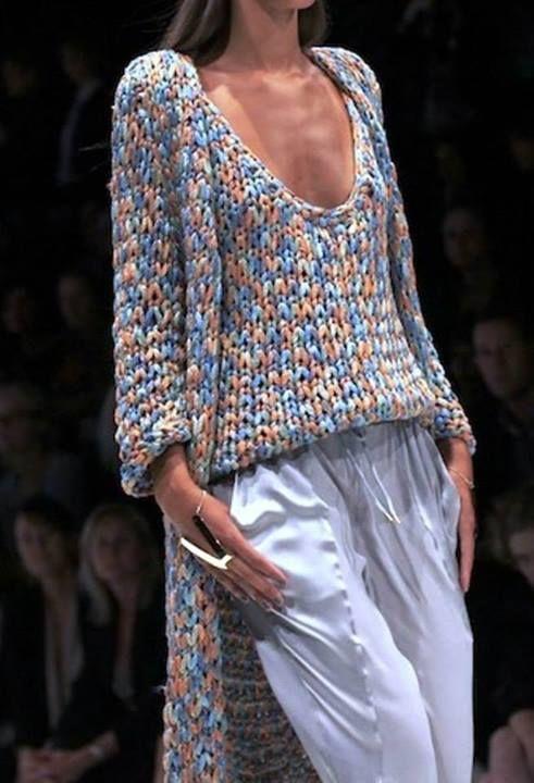 Вяжем на спицах больших номеров. condo knit?