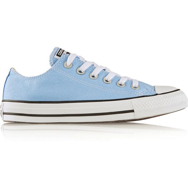 Converse Chuck Taylor All Star canvas sneakers ($55) ❤ liked on Polyvore featuring shoes, sneakers, converse, light blue, rubber sole shoes, star sneakers, pastel shoes, light blue shoes and wide shoes