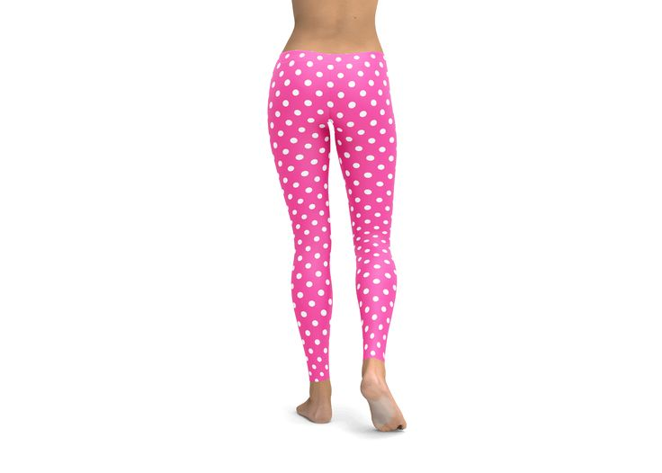 Pink Polka Dot Leggings, Yoga Pants, tights, workout gear, cute leggings