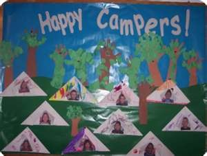 Cute bulletin board for a camping theme. @Kelsey Myers Hazel this would be great for you!!