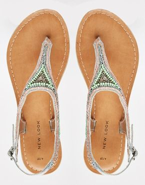 Enlarge New Look Fallen 2 Silver Embellished Flat Sandals