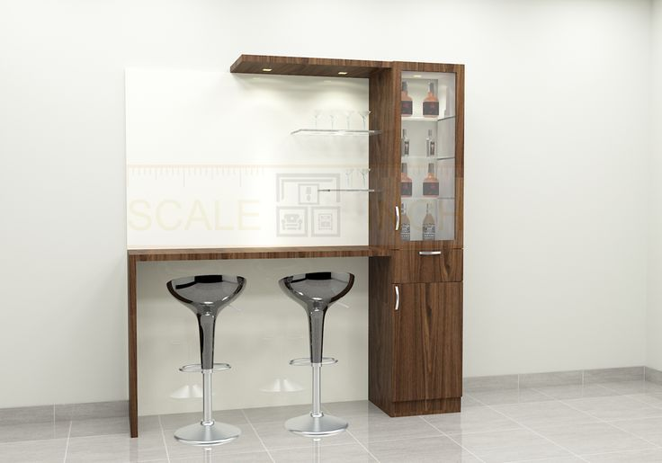A trendy bar counter with effective storage cabinets. Made up of plywood with laminate finish. Pair this bar counter with stylish bar stools and give the space a classic look. The dark color laminate with light hue background gives a perfect combination. This is a time to welcome home your friends and guests for organizing a party with this beautiful bar unit.