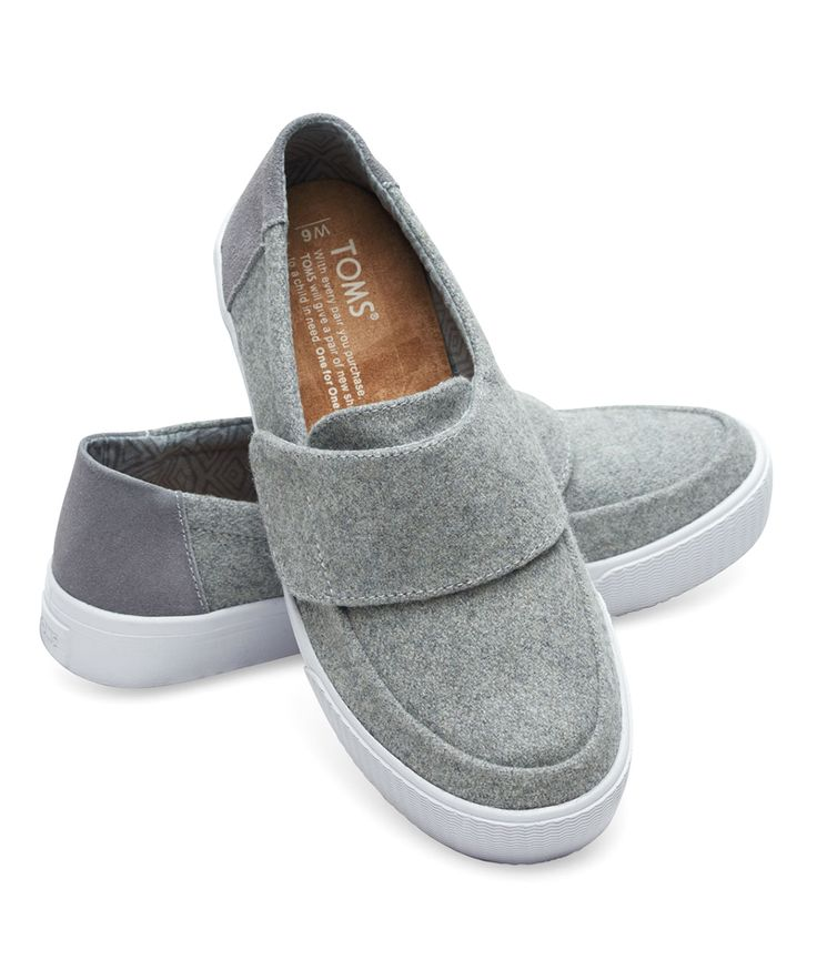 A sporty-chic twist on a casualwear staple, these sleek sneakers flaunt a wide top strap for a pop of functional flair. And with every pair you purchase, TOMS will give a pair of new shoes to a child in need. One for One.®Size note: TOMS run true to size. If you're typically in-between sizes, TOMS recommends ordering smaller since TOMS shoes will stretch with wear.Hook and loop closureWool / suede upperMan-made soleImported