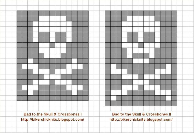Skull & Crossbones Color Knitting Charts for Callum & Lil' Evan's dress-up/costuming gifts