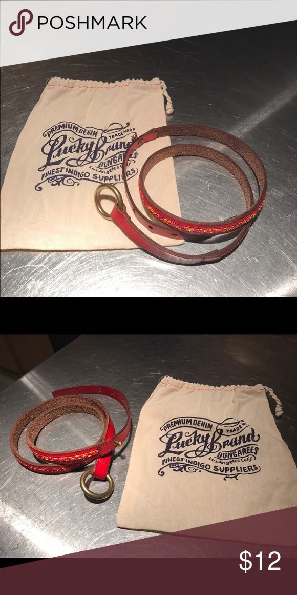 Lucky Brand Belt Red and beaded Belt, excellent condition, in original bag Lucky Brand Accessories Belts