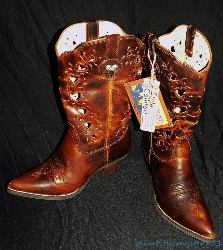 "NEW Crush by Durango 11"" Brown Saddle Leather Heart Cutout Cowboy Boots Size 9M #Durango #CowboyWestern #Casual"