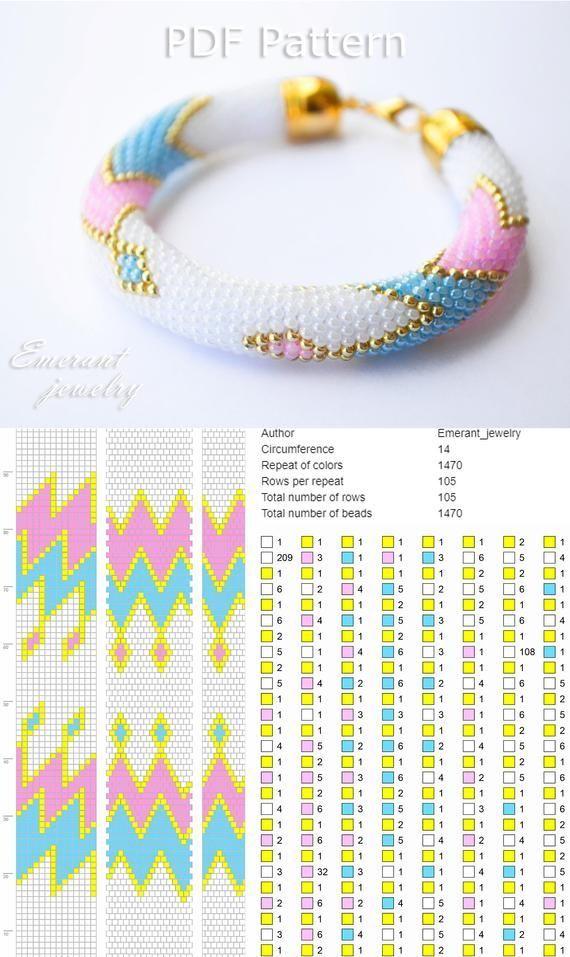 Bead crochet pattern seed bead bracelet tutorial pdf beading master Class jewelr… – Häkeln