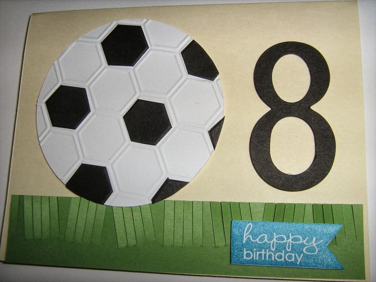 A soccer card using the Stampin' Up! Honeycomb Embossing Folder
