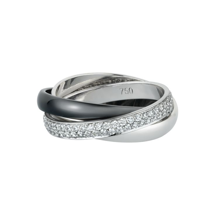 18K white gold ring with one band paved with 100 diamonds, one white gold band…