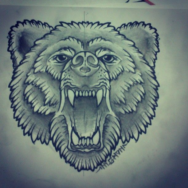 Angry Bear Tattoo Sketch