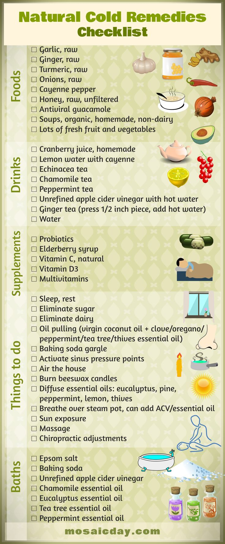 Natural Cold Remedies Checklist: Food, Supplements, Things To Do, EOs
